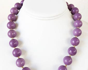 Rare AAA 15mm Round Phosphosiderite Beaded Necklace with Artisan Gold Vermeil Clasp
