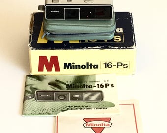 Working Vintage Minolta 16 model P Subminiature Spy Camera with Camera Case Original Box Owners Manual