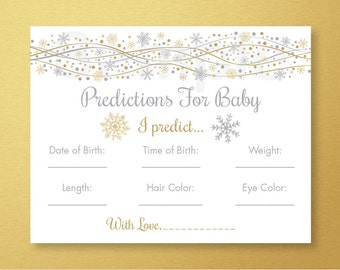 Silver & Gold Glitter Snowflake Baby Predictions Cards / Snowflake Baby Shower / Winter Baby Shower / INSTANT DOWNLOAD A256