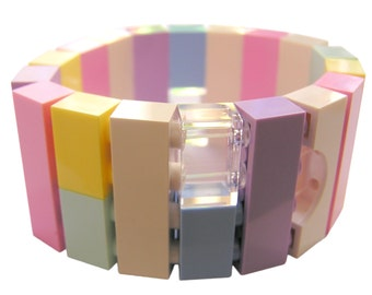 Kawaii Pastel bracelet - made from LEGO (R) bricks on stretchy cords - Fairy Kei - Sweet Lolita