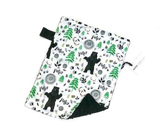 Woodland Bears Baby Boy MINKY Lovey Blanket, MINI Minky Baby Boy Blanket, Taggie Blanket, Hello Watercolour Bear Woodland Baby Gift