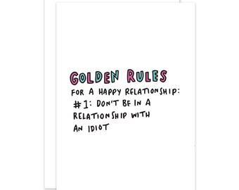 Golden Rules Funny Break Up Card