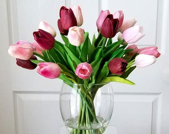 Real Touch Flowers Table Centerpiece-Mother's day gift-Table Faux Floral Arrangement-Silk faux arrangement-Pink tulips-Real Touch Tulips
