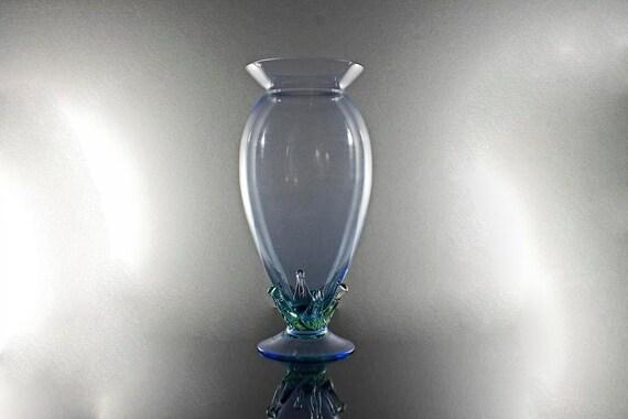 Hand Blown Art Vase, Blue with Green Leaves, Footed Vase, Art Glass, Flower Vase, Large Vase