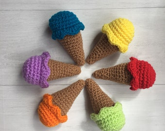 Ice cream cones, crochet playset, pretend food, baby shower gift