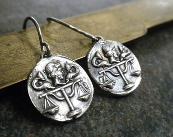 Ready to Ship Libra Zodiac Jewelry Justice Scales Silver Earrings