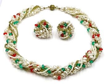 Red Green White Gold And Silver Beaded Torsade Necklace And Earrings Set