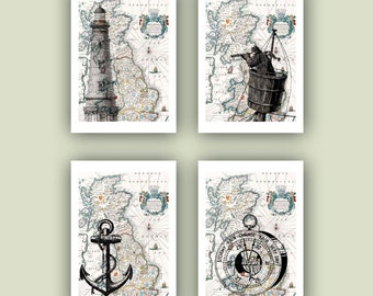 Nautical Print, Ocean Anchor, lighthouse, compass, sailor, sailing, old Britannia map, Nautical art, Coastal  seashore Decor