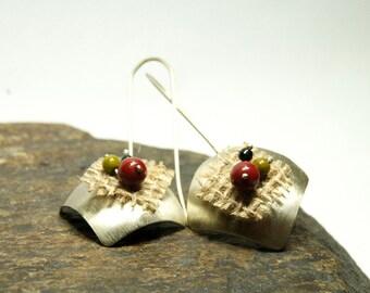 SQUARE EARRINGS , herb fabric earrings  , multicolor hollow earrings , red earrings , textured earrings , geometrical earrings,free shipping