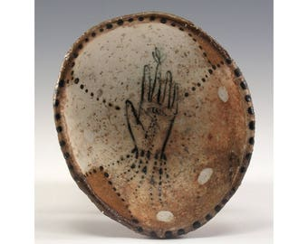 Oval Hand Pinched Wood Fired Bowl by Jenny Mendes - Hand with Eye