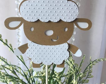 Lamb centerpieces stick/ Lamb shapes/ Sheep baby shower/ Tan and white  Sheep/ Little Lamb baby shower