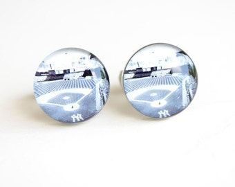 Cufflinks for men - New York Yankees Stadium Cuff links - black and white photo of baseball field- accessories handcrafted in the USA