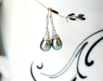 Gray Pearl Earrings   Grey Freshwater Droplet   Petite Teardrop Pearl Dangles   Wire Wrapping   Argentium Sterling Silver   Everyday Pearls