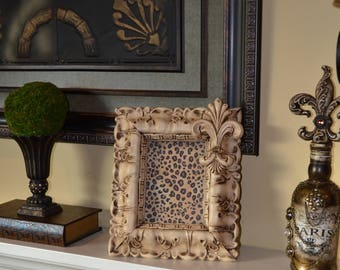 Decorative 5 X 7 Picture Frame Embellished w/a Large Fleur-de-Lis and Swarovski Crystals