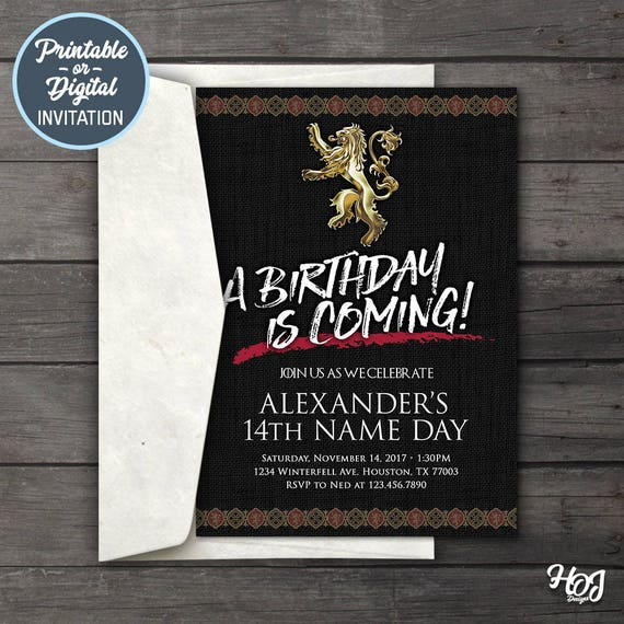 Game of thrones digital birthday party invitation game of like this item filmwisefo Choice Image