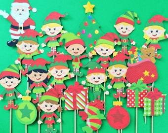 Christmas cupcake toppers, elf toppers, Santa cupcake topper, Christmas tree toppers, elves cupcake toppers, Christmas toppers, Christmas