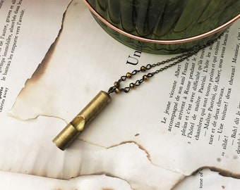 Long Brass Whistle Necklace - Matte Gold Faceted Beads - Antique Brass