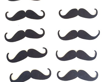 Felt Mustache  black set of 10