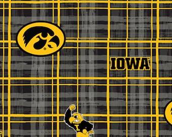 University of  Iowa Hawkeyes Plaid Collegiate Cotton Fabric 1 Yard Sports Team 100% Cotton