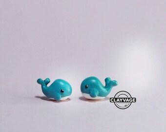 Cute Handmade Green/Teal Whale Stud Earrings