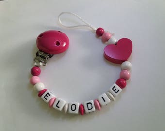 Pacifier clip personalized with name, pink and white. Wooden beads attached pacifier. Idea birthday gift / baby accessory.