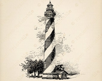 Instant Digital Download Printable - Vintage LIGHTHOUSE illustration - Bathroom Clip Art SEA BEACH Graphics - iron on Fabric Transfer Image
