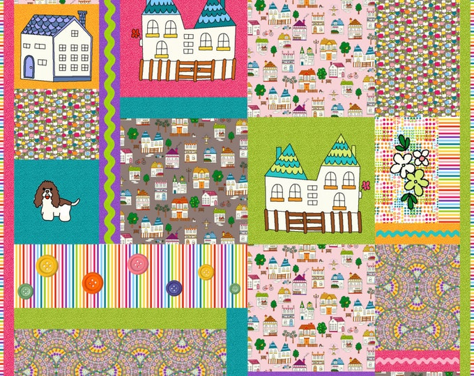 A Charming Walk Twin Size Little Village Baby Childs Quilt Sewing Pattern - Ellen Medlock Studio Design from CharmVille Collection  (#129)