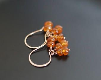 Mandarin garnet earrings, garnet jewelry gift, orange gemstone earrings, orange earrings, 14k rose gold fill French hook ear wires