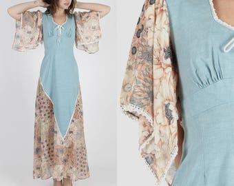 Boho Dress Kimono Sleeve Dress Hippie Dress Vintage Dress 70s Dress Wedding Dress Floral Dress Festival Prairie Angel Sleeve Maxi Dress S