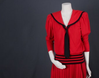Red dress Sailot dress drop wait red black fifties sixties vintage size S Small
