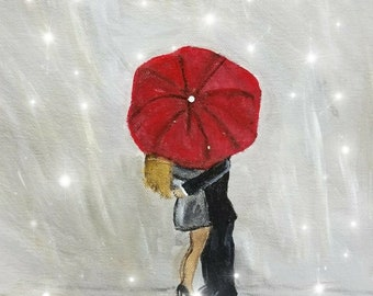 Man and Woman Kissing in the Rain Portrait Art - Acrylic painting - clearance sale