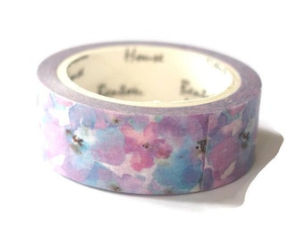 Masking tape flowers blue/pink 1.5 cm - 7 m
