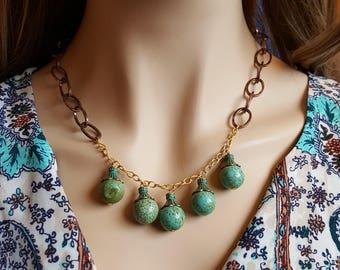Turquoise Bib Necklace  |FREE US SHIPPING| Bib Turquoise Necklace Statement Necklace Boho Necklace Bohemian Jewelry  Boho Women Necklace