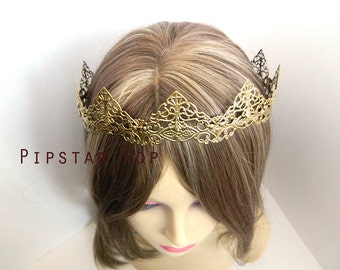 Gold Filigree Medieval Crown (CR03) Princess style metal link crown for Larp, renaissance fair, elven wedding circlet,gothic headpiece