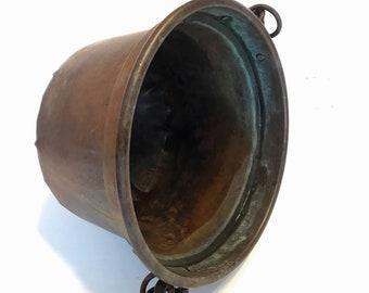 Antique Copper Pot Cauldron Primitive Open Fire Cooking Pot Iron Handle