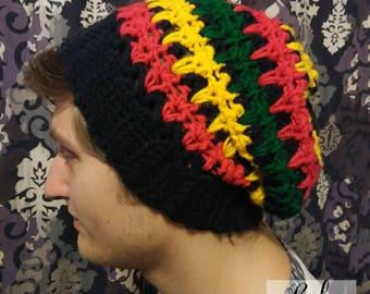 Rasta Slouchy Hat – Crochet Pattern - Dreadlock Hat - Rasta Tam - Rasta Crochet Hat - Rasta Crochet Pattern - Bob Marley Hat - PDF