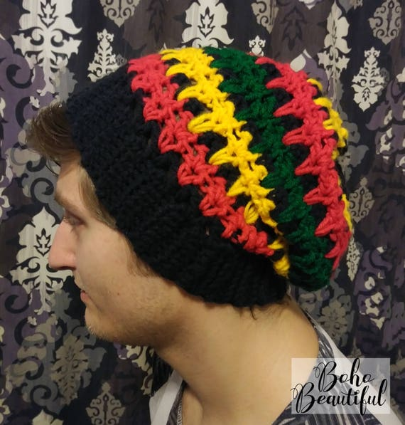 Rasta Slouchy Hat Crochet Pattern Dreadlock Hat Rasta