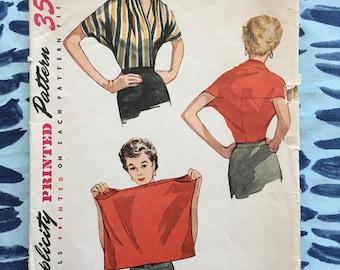 RARE 1950's Simplicity Sewing Pattern 4538 Misses Shrug Blouse Size Medium 14-18 Uncut- 1950s pattern, shrug pattern, shrug blouse, wrap top