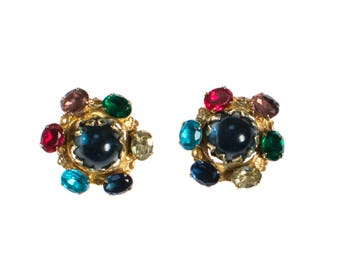 Vintage Accessocraft NYC Royal Colors Cabochon Mogul Style Earrings