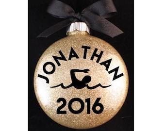 Swimmer Christmas Ornament, Swim Team Christmas Ornament, Swimming Christmas Ornament