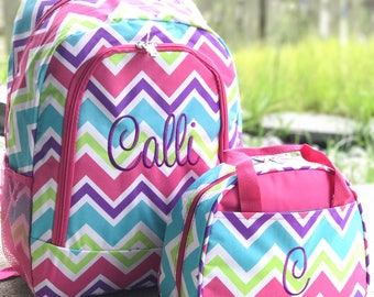 Rainbow Backpack & Lunchbox Set, Kids Backpack, Monogrammed Backpack, Personalized Backpack, Pink Backpack / Lunchbox Set, Cute Backpack Set