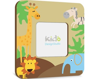Jungle Safari Boys Photo Picture Frame, Personalized Baby Gift, Animals Nursery Personalized Frame,