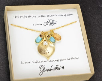 Oma Grammy Grandma Gift  Gifts for Grandma Birthstone Charm Necklace  Grandmother Gift Grandmother Necklace Grandma Gift from Grandchildren