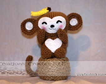 Morris the monkey stuffed toy plushie crochet knitted