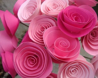 Pretty in Pink rolled paper flower bouquet of 24 (medium)