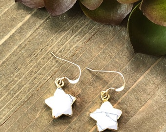 White Howlite Star Earrings Howlite Earrings Dangle Earrings Small Dangle Earrings Earring Gifts Under 20 Gifts For Her Earrings For Her