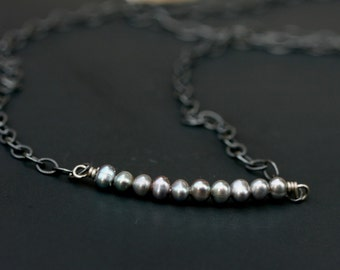 Tiny Real Pearl Bar Necklace, Black Pearl Necklace, Minimal Necklace, Pearl Bar Necklace, Layering Necklace, Oxidized chain, Gifts for Xmas