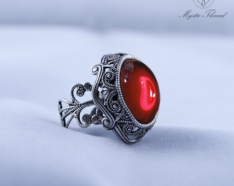 Ruby gem gothic victorian silver adjustable ring