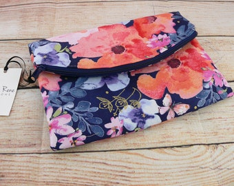 Navy Clutch, Clutch Bag, Navy Floral Clutch, Foldover Clutch, Easter Clutch, Mother's Day, Gifts for Her, Floral Clutch, Floral Clutch Purse