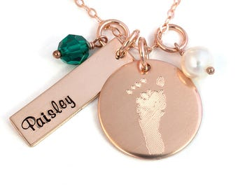 Footprint Necklace with Your Child's Actual Foot Print - 14k Rose Gold Fill - Personalized Foot Print Necklace